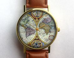 Antique Map Watch, Vintage World Map, Ladies Watch, Unisex Watch, Cartography, Old Map, Vintage Inspired, Men's Watch, Analog, Gift Idea by 10northcreative on Etsy https://www.etsy.com/listing/205040703/antique-map-watch-vintage-world-map