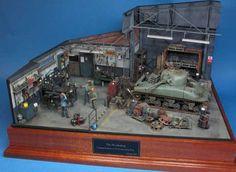 Impresionante diorama a escala 1/35 de un taller mecánico militar reutilizado por los aliados durante la Segunda Guerra Mundial.