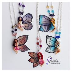 Custom fairies   .  .  .  #giundacreazioni #handmade #polymerclay #fimo #fimosoft #creazioniinfimo #premo #sculpey #fattoamano #pastapolimerica #scultura #sculpture #miniature #miniatura #clayart #etsy #etsyseller #jewelry #gioielli #clayart #fairy #fairies #fata #fate #collana #collane #necklace #necklaces #fairywings #alidifata
