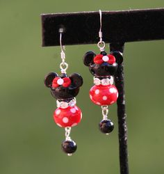 Oh so perfect SRA Lampwork Disney Mickey Minnie by chuckhljal, $35.00 DeSIGNeR Earrings found at chuckhljal.etsy.com