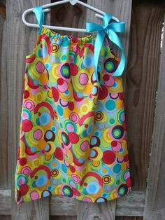 Colorful circles pillowcase dress by SMPstore on Etsy, $15.00