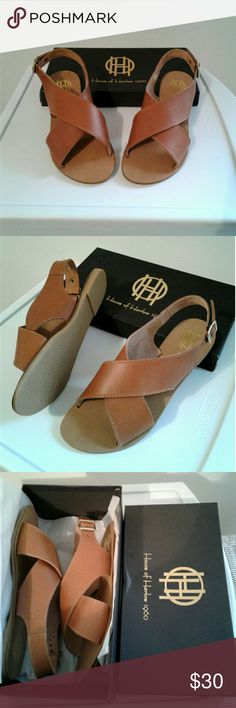 House of Harlow Sandals Flat sandals leather upper criss cross wide strap slip on with gold buckle closure color is caramel Shoes Sandals