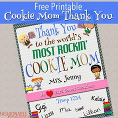 Free Printable: Cookie Mom Thank You Certificate