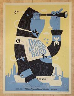 "Dave Matthews Band - silkscreen concert poster (click image for more detail) Artist: Methane Studios Venue: Nikon at Jones Beach Theater Location: Wantagh, NY Concert Date: 6/21/2016 Size: 18"" x 24"" E"