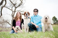 Couple with their three dogs.  Denver Family Photography, Colorado Childrens Photography, Denver Baby Photographer