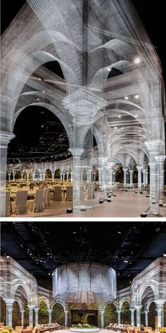 Italian artist Edoardo Tresoldi has created a tableau of wire mesh architecture.
