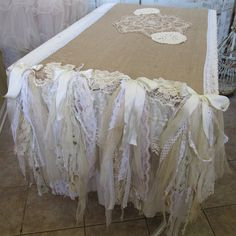 Table runner handmade burlap tattered ruffles by AnitaSperoDesign, $375.00