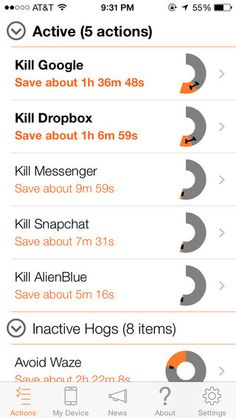 """Which Apps Are Eating Your Battery? """"Normal"""" Will Tell You; Estimates what you will save if you 'kill' app; Details."""