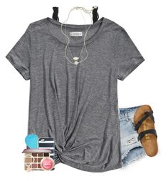 """""""lol kinda weird story"""" by lydia-hh ❤ liked on Polyvore featuring Bershka, Monki, Abercrombie & Fitch, Kendra Scott, Ray-Ban, Birkenstock, J.Crew, tarte and Maybelline"""