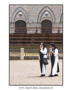 Nuns enjoying gelato - Siena, Italy