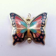 Vintage 1960's butterfly insect moth cloisonne by jewelry715, $10.00