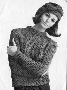 7bc36c98756 The Vintage Pattern Files  1960 s Knitting - Hat  amp  Jumper Sweater  Knitting Patterns