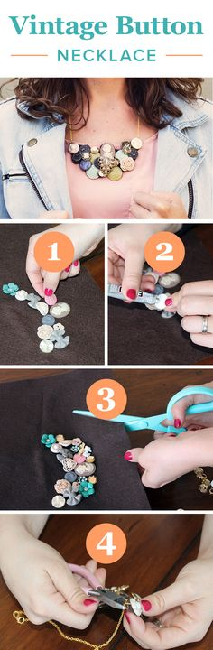DIY Vintage Button Necklace with copper PATINA on top would be amazing! Button Necklace, Diy Necklace, Necklaces, Collar Necklace, Cute Crafts, Crafts To Do, Easy Crafts, Easy Diy, Jewelry Crafts