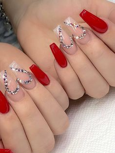 Trendy Winter Red Coffin Nail Designs for Christmas and New Year; Red Long A . - Trendy Winter Red Coffin Nail Designs for Christmas and New Year; Red Long A … Trendy Winter Red - Coffin Nails Long, Long Nails, Stiletto Nails, Short Nails, Cute Nails, Pretty Nails, Fancy Nails, White Acrylic Nails, Pastel Nails