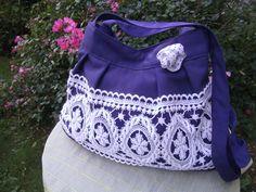 blau-weiße Tasche - Ballontasche - Spitzentasche - Schultertasche - handmade Tasche von himmeldurchnadeloehr auf Etsy