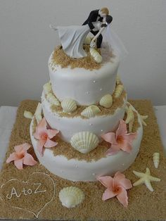 Custom Cakes, Wedding Cakes, Cupcakes and Cake,  Beach Wedding Cakes www.loveitsomuch.com