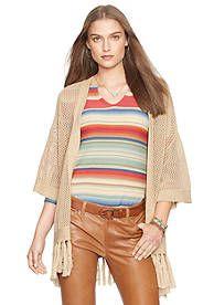 Lauren Jeans Co. Mesh-Knit Fringed Cardigan