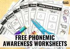 Free phonemic awareness worksheets for preschool, kindergarten, and first grade. Printable, interactive and picture-based with answer keys included! Word Study Activities, Kindergarten Reading Activities, Autism Activities, Teaching Reading, Dyslexia Teaching, Preschool Kindergarten, Guided Reading, Free Reading, Learning