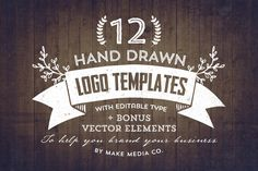 Check out Hand Drawn Logos + Elements Vol. 1 by MakeMediaCo. on Creative Market