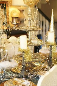 Christmas gold tablescape-Haddock home tour 2015