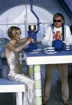 Twiggy and Ken Russel on the set of The Boy Friend directed by Ken Russel, photographed by David Hurn, 1970