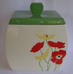 Russ Red Yellow Poppies Poppy Squared Disc Shaped Ceramic Cookie Jar Canister