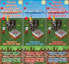Minecraft Personalized Birthday Party Invitation - Minecraft Ticket Invitation - DIY Printable by GamersPink. $9.00, via Etsy.