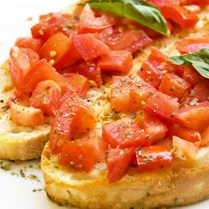 A Yummy recipe for Italian tomato bruschetta, A great appetizer for your next get together.