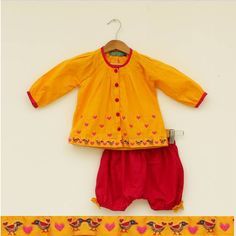 Little Hearts Jhabla With Bloomer. #Stylemylo #kids #onlineshopping #kidswear #designerkidswear #rakhi #ethnic #babygirls #babyboys