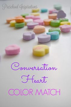 Candy games are some of my favorites, and this one is a conversation candy heart color matching busy bag. Simple and fun! Preschool At Home, Preschool Themes, Toddler Preschool, Educational Activities For Preschoolers, Toddler Activities, Motor Activities, Valentine's Day Quotes, Valentines Day History, Candy Games