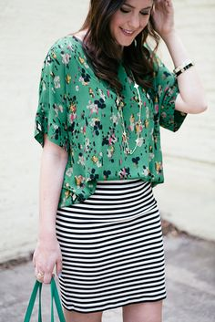black white stripe, floral/teal top