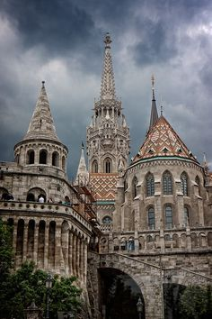 Budapest, Hungary - Fisherman's Bastion and a part of Matthias Church on Castle Hill. Colorful mix of Gothic, Baroque and Ottoman influences.