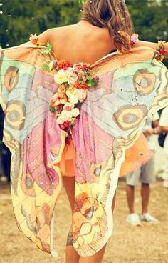 a really pretty and unusual big pair of butterfly wings. it would be easy to make these yourself. i will definately make them