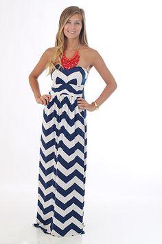 Hot Black navy and white chevron zig zag stripe gathered strapless maxi full pocket dress