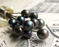 "❥ Lampwork glass headpins ""Black Pearl"""