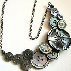 Pearly Gray Flower Vintage Button Necklace