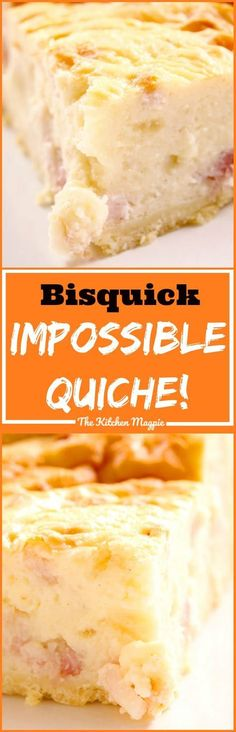 Impossible Quiche Recipe - classic makes-its-own-crust quiche that our moms used to make! From Impossible Quiche Recipe - classic makes-its-own-crust quiche that our moms used to make! Bisquick Impossible Quiche Recipe, Bisquick Quiche Recipe, Bisquick Recipes, Quiche Recipes, Bisquick Pie Crust, Jiffy Recipes, Bacon Recipes, Milk Recipes, Biscuit Recipe