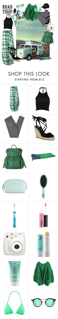 """""""Road Trip"""" by marionmeyer ❤ liked on Polyvore featuring STELLA McCARTNEY, AG Adriano Goldschmied, M Z Wallace, Hadaki, Topshop, Philips, Lancôme, MAC Cosmetics, Fuji and COOLA Suncare"""