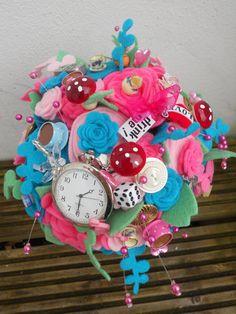 handmade customade wedding bride bridesmaids posy alice woodland bespoke button flowers felt bouquet