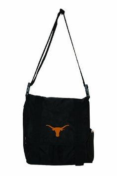NCAA Texas Longhorns Sitter Diaper Bag by Concept 1. $39.99. Durable webbing shoulder strap and straps to clip on to stroller. Front flap team logo. Team licensed diaper tote. Convenient bottle side pocket. Fold-up changing pad inside. The sitter is the perfect bag to carry all the supplies that your baby needs during a day out. Mom and dad can sport their favorite team on this baby bag.