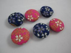 Japanese Blossom Magnets  Blue and Pink  Set of Six Cover Button Magnets by adrisadorables, $7.00