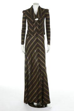 * BIBA gold and black striped ensemble, 1970s, printed art nouveau