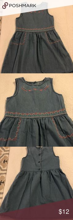 Gymboree Boho Chambray Dress EUC Gymboree Chambray Dress. Embroidered detailing on neckline and waist. Soft gathering at waist to add fullness to skirt. Buttons in the back. Super soft. This was one of my daughter's favorite dresses! Comes from a smoke free/hypoallergenic pet friendly home:) Check out my other listings to BUNDLE AND SAVE! Gymboree Dresses