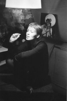 "Nico, photographed by Jeanloup Sieff, 1956. ""She had not yet appeared in a film, nor sung, but had just started her career as a model. I photographed her in a little attic room I had in Saint-Germain. — Jeanloup Sieff."