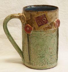 ceramic garden coffee mug 16oz stoneware 16A075. $24.00, via Etsy.  #handmade