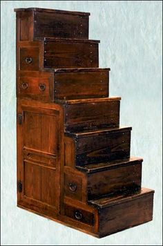 Kaidan Dansu, the traditional Japanese step-chest.  These storage units were used as stairs to a loft space, often living space above a shop.