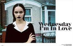 Stylist Jordy Hunders is one of many in the fashion industry who use #Goth and Goth glam to promote their creations and vision. Here, the photo shoot uses Wednesday Addams persona to promote a line of clothing. Model and image from the high fashion image house that dabbles in alternative dark imagery in models thebookagency.co.uk