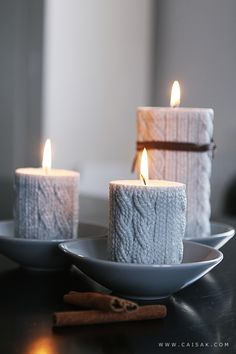 Love these textured candles... they look like they are wearing sweaters