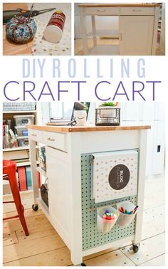 craft room makeovers Inside: Full tutorial on how to create a DIY Rolling Craft Cart from a repurposed kitchen cart plus more craft room storage and organization ideas. Craft Storage Cart, Craft Tables With Storage, Craft Storage Solutions, Craft Organization, Storage Room, Paper Storage, Storage Ideas, Storage Chest, Furniture Plans