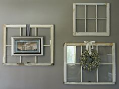 Decorative Wall Decor Ideas for Old Window Panes from Wood with Photo and Small Bouquet placed on - Old Windows Ideas to Renew the Appearance of Your Residence – VizDecor
